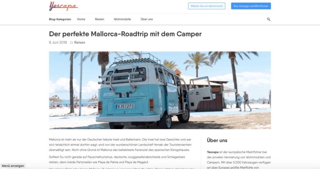 Mein SEO Artikel für Yescapa über den perfekten Mallorca Rundtrip im Camper