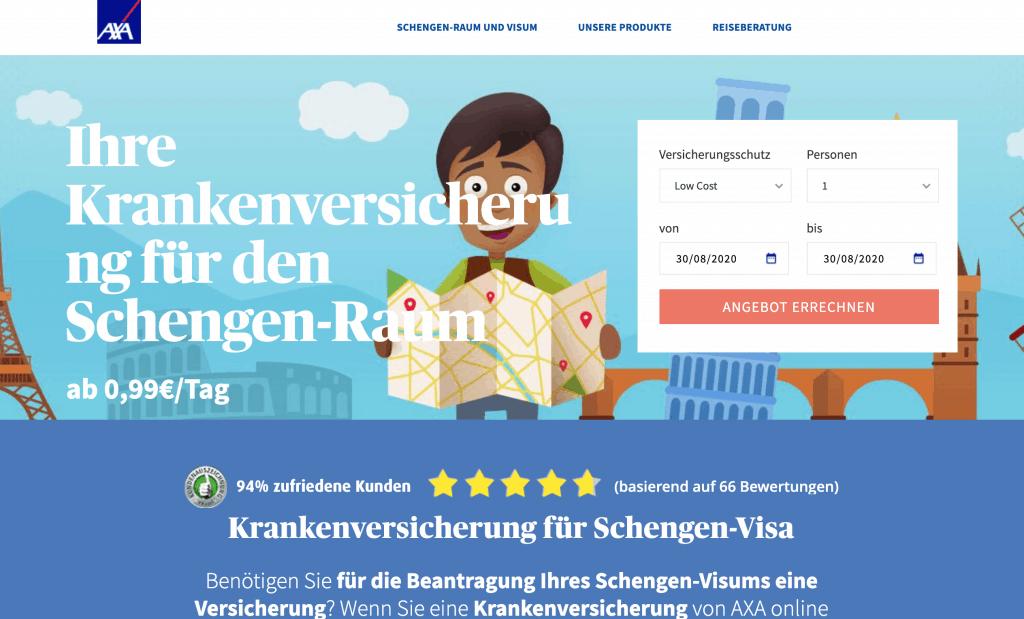 Arbeitsproben 5 Stars Content: AXA Schengen Content Management